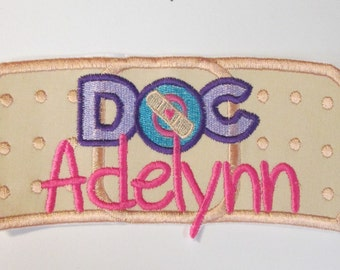 Doctor Bandaid Name Plate - Iron On Applique  Ready To Ship in 3-7 Business Days