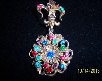 Colorful Crystals Heraldic Crest Brooch