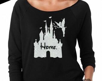 GLITTER Disney is my Home 3/4 Length lightweight Sweatshirt // Disneyland Shirt // Disney Cinderella Castle Disney Clothing (6951 black)