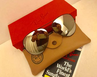 Vintage NEW Aviator Ray Ban Full Mirrored Sunglasses NOS Bausch & Lomb USA 62mm w/ case original