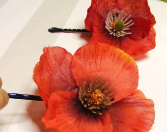 POPPY  Love minis - duo o' reds - customizable on bobby pin, barrette, comb or alligator clip