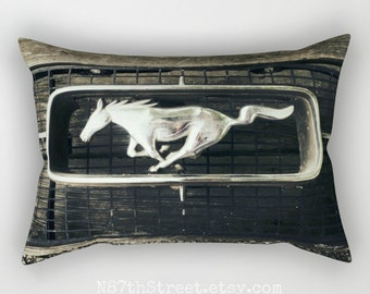 "MUSTANG GRILLE: Sepia 12x17"" Rectangular Pillow Cover. Photo Art, TMC. Home Decor. Rustic. Industrial. Horse. Ford Mustang. Automobile."