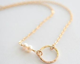 Hammered 14K Gold Filled Circle with Birthstones or Pearls Necklace