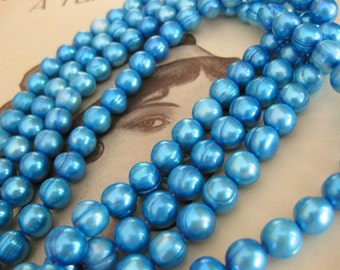 1 Strand Cultured Fresh Water Pearls / Marie Antionette Blue / 7mm - 8mm