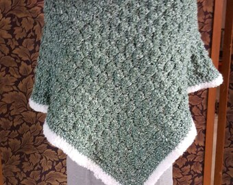 Girl's sage green poncho and matching cap