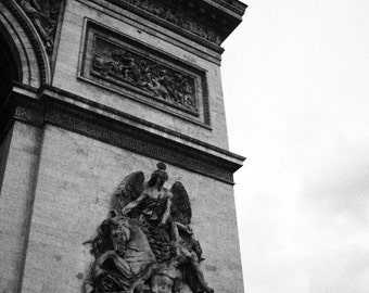Arc de Triomphe - Paris Travel Art - French Inspired Decor - Black and White - Arch of Triumph - Parisian Home Decor - Fine Art Photograph