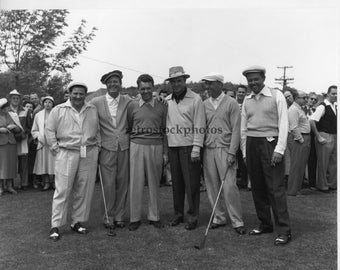 vintage photography; black and white golf photo; Buddy Hackett, Demaret, Burke, Snead, Hogan, May 1953 - GO-06