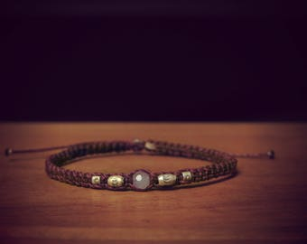 Plum color with quartz and sterling silver beads macrame bracelet