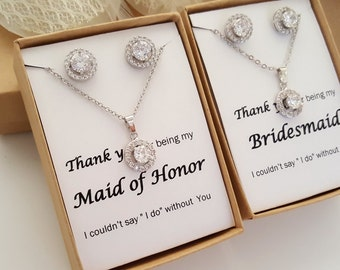 Bridesmaid CZ Jewelry Set ,Bridesmaid Gift, Maid of Honor Jewelry, Gift Box, Flat Halo Set