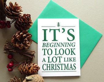 Christmas cards, christmas greetings, xmas cards, merry christmas card packs, green holiday cards, simple christmas card ideas