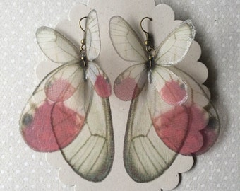 I Will Fly Away - Handmade Silk Organza Cithaeria Merolina Pink Butterfly and Wings Earrings - Ready to Ship