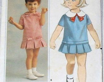 Vintage 1970's Toddlers' Dress Sewing Pattern Butterick 3452  Size 6 months  Breast 19 inches  Complete
