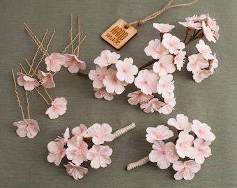 Sakura twig wedding set ‒ Wedding set ‒ Wedding twig ‒ Boutonniere ‒ Hair pins ‒ Wedding theme ‒ Peach hair vine ‒ Polymer clay
