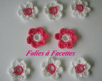 Fuchsia flowers and white crochet cotton