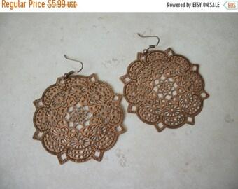 ON SALE Vintage Large Copper Tone Filigree Earrings 145