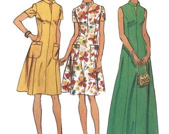 Vintage 70's Plus Size Dress, Simplicity Sewing Patterns, Bust 43, Dress Look Slimmer Pattern, Simplicity 6276 Factory Folds Uncut Pattern