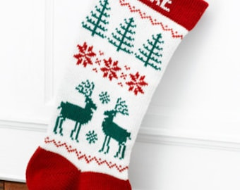 Wool Christmas Stocking Red Reindeer (Personalized)