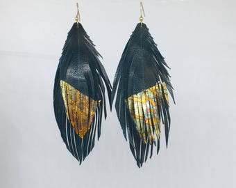 Leather feather earrings teal feather earrings with gold leaf tips DOUBLE genuine LEATHER feather earrings teal leather feathers