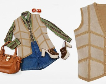 90s does 70s beige suede and knit chevron patchwork vest - Size S/M