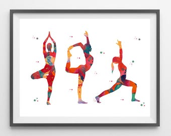 Yoga watercolor Print Yoga lord of the dance warrior I and tree pose meditation art yoga basic postures painting yoga wall decor