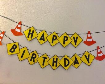 Happy Birthday banner- Construction birthday banner- Safety cone banner