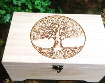 Tree Of Life Keepsake Box - Pagan Gift - Spiritual Gift - Reiki Gift - Essential Oil Storage Box - Hippie Gift - Eco Gift - Nature Lover