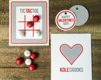 Valentine Collection. TiC TAC TOE. PERSONALiZED. DiY Printable Design. Pinkadot Shop