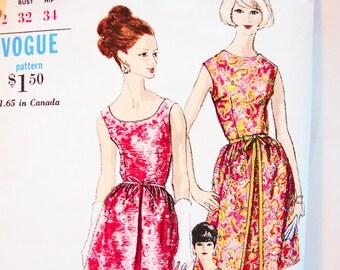 Vintage 1960s Dress Pattern 60s Vogue Pattern size 12 Womens Sheath Dress with Overskirt Sewing Pattern