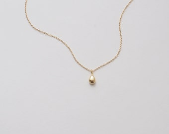 Tiny Gold Drop Necklace, Dainty Teardrop Necklace, Delicate Minimalist Layering Necklace in Sterling Silver, Gold, Rose Gold #D94