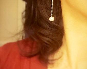 Genuine Pearl Drop Earrings/ Long Pearl Earrings/ Bridal Pearl Drop Earrings/ Prom Pearl Earrings/ Bridesmaids Pearl Earrings/ Pearl Dangle