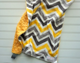 Yellow and Gray Chevron Double Minky Lovey, Gender Neutral, Boy or Girl Lovey Blanket, Yellow and Gray Lovey Security Blanket