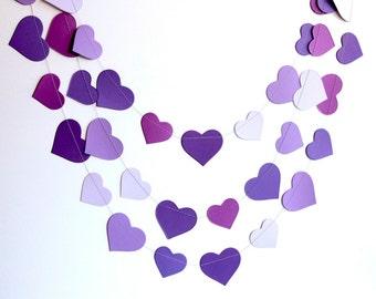 Purple heart garland, purple ombre birthday party decoration, violet hearts paper garland banner, nursery decor, bridal shower decor