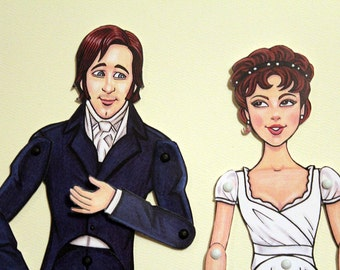 Mr. Darcy and Elizabeth Bennet Articulated Paper Dolls - Pride and Prejudice  - Jane Austen