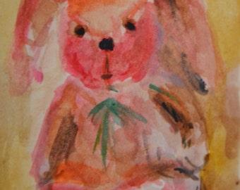 Original ACEO Watercolor Painting: My Bunny No. 7