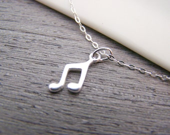 Dainty Music Note Charm Sterling Silver Necklace Simple Jewelry Everyday Necklace / Gift for Her / Flower Necklace