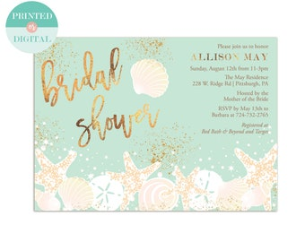 Beach Bridal Shower Invitation - Seashells Bridal Shower Invitation - Beach Wedding - Destination Wedding - Printed or Digital - LR1004