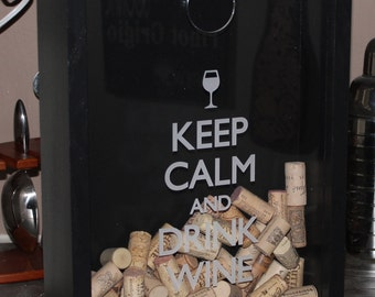 Keep Calm and Drink WINE/Cork Holder/Decor/Bar Decor/Mother's Day/Man Gift/Engraved/Wedding Gift