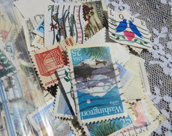 Baggie Full of Postage Stamps for Crafting Collecting Collage Mixed Media All United States Postage Stamps Lot of Postage Stamps for Crafts