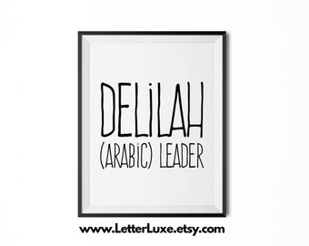 Delilah Name Meaning Art - Printable Baby Shower Gift - Nursery Printable Art - Digital Print - Nursery Decor - Typography Wall Decor