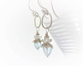 40% off PIXIE DUST Sky Blue Topaz, Rainbow Moonstone Luxe Gemstone & Bali Sterling Silver Earrings