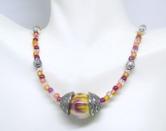 Dainty Beaded Necklace, Colorful Necklace, Purple Orange Necklace, Seed Bead Necklace, Adjustable Necklace, One of a Kind Gift 18-22in