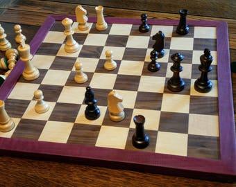 Chessboard - Walnut and  Maple, Purpleheart edging