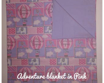 Hot Air Balloon baby receiving blanket in Pink