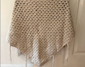 Ecru Crochet Shawl / Open Poncho