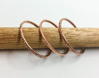 Copper Hammered Stacking Rings