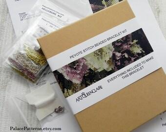 GIFT BOXED Beautiful Hellebores1-P7 Bracelet KIT - Peyote Stitch Bracelet Kit or Bead Loom Bracelet Beading Kit - Pattern, beads and more