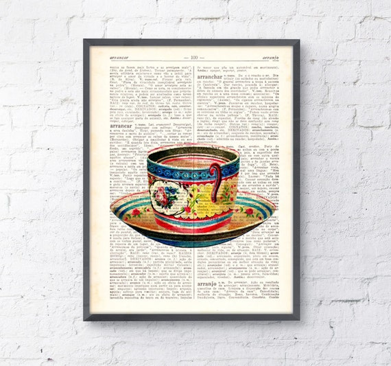 Vintage Teacup print on dictionary book wall art book print BPTV074