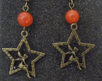 Earrings bronze fairy on a star and jade