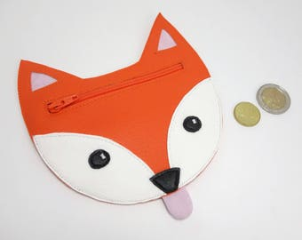 Fox coin purse for children, orange faux leather / Funny little pouch for kids
