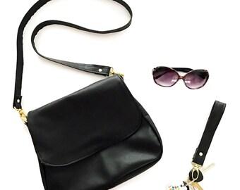 Black Leather Satchel Crossbody Bag